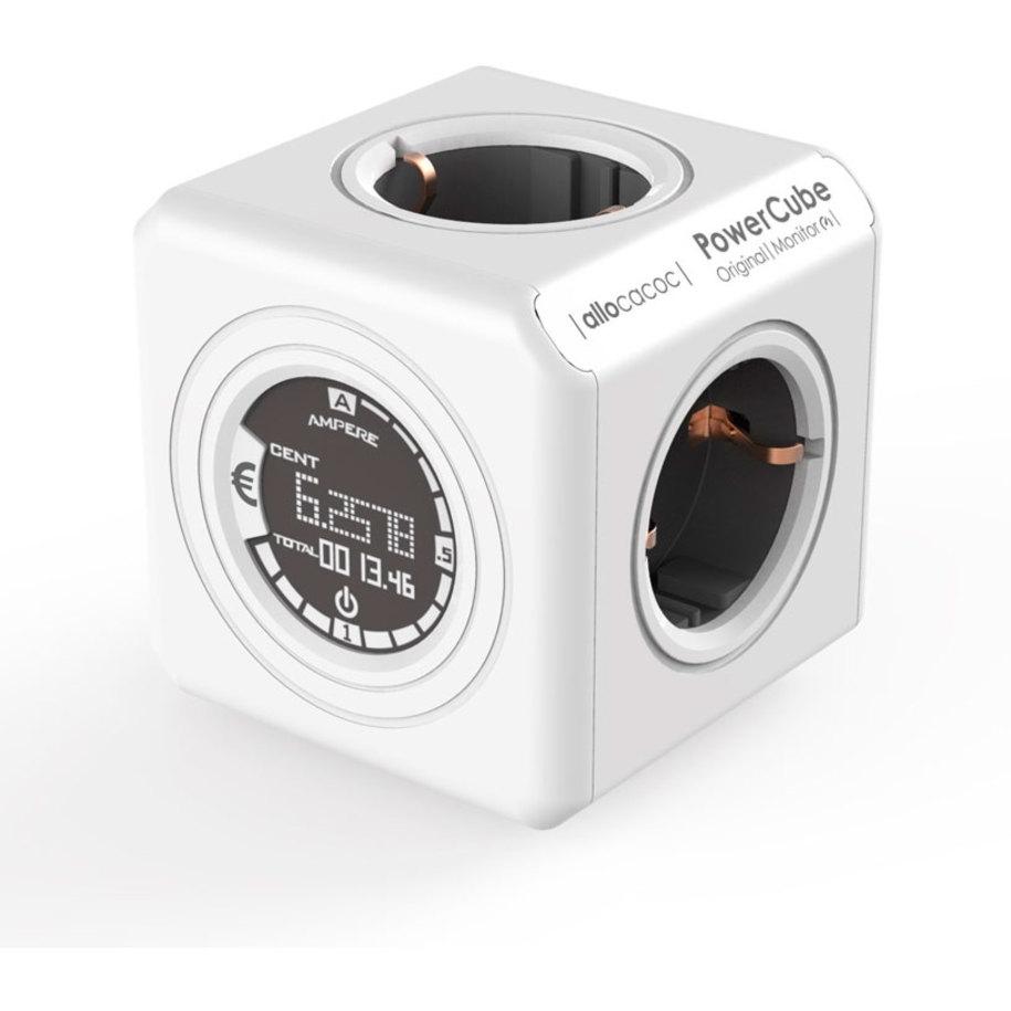 Allocacoc PowerCube Original Monitor - Πολύπριζο με 4 Υποδοχές και Οθόνη Μέτρησης Κατανάλωσης Ενέργειας - Grey (8810/DEORMO)