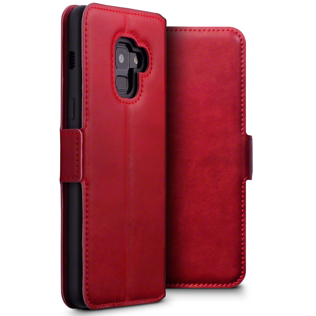 Terrapin Low Profile Δερμάτινη Θήκη - Πορτοφόλι Samsung Galaxy A8 2018 - Red (117-002a-054)