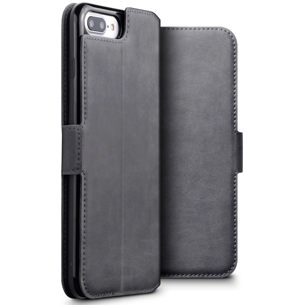Terrapin Low Profile Δερμάτινη Θήκη - Πορτοφόλι iPhone 8 Plus/ 7 Plus - Grey (117-123-018)