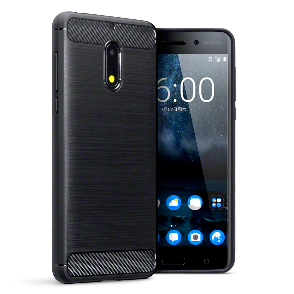 Terrapin Θήκη Σιλικόνης Carbon Fibre Nokia 6 - Black  (118-001-243)