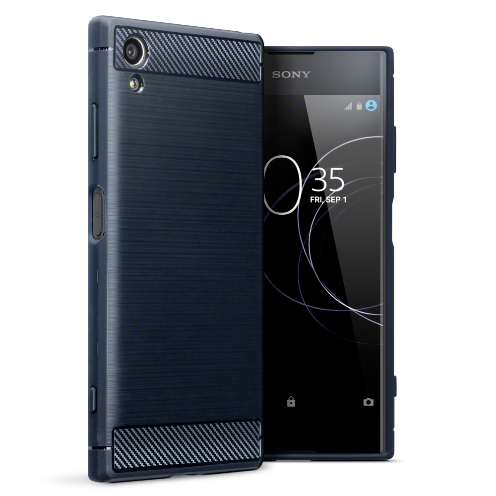 Terrapin Θήκη Σιλικόνης Carbon Fibre Design Sony Xperia XA1 Plus - Blue(118-005-422)