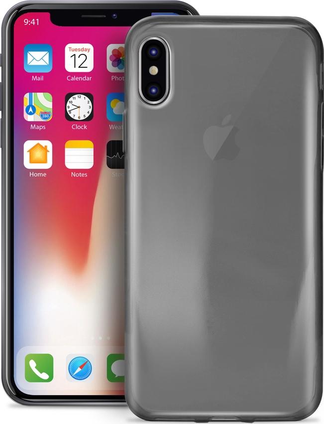 Puro Ultra Slim Θήκη Σιλικόνης Ημιδιαφανή iPhone X / XS - Transparent Black (IPCX03NUDEBLK)