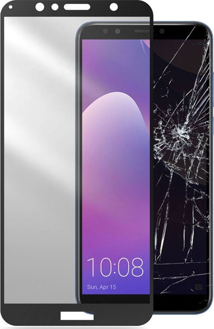 RedShield Full Face Tempered Glass - Αντιχαρακτικό Γυαλί Οθόνης Huawei Y7 Prime 2018 - Black (RSHITEMP54BK)