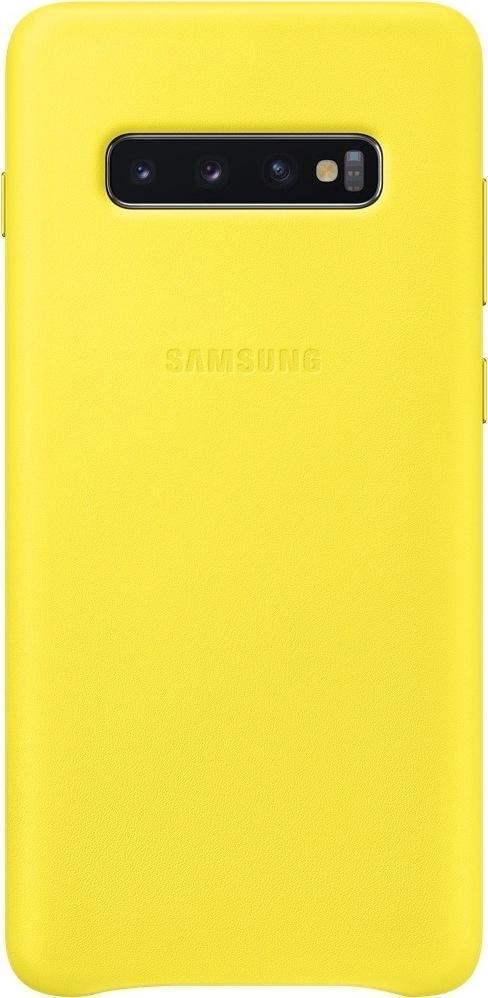 Official Samsung Leather Cover Samsung Galaxy S10 Plus - Yellow (EF-VG975LYEGWW)
