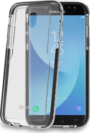 Celly Hexagon Σκληρή Θήκη με Προστατευτικό Bumper Samsung Galaxy J5 2017 - Transparent / Black (HEXAGON665BK)