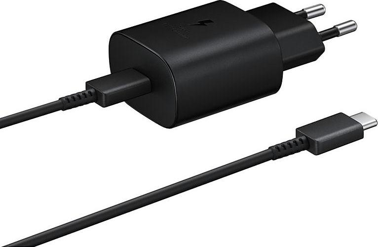 Official Samsung Φορτιστής Ταξιδιού Type - C σε Type - C με Καλώδιο Fast Charge 25W - Black (EP-TA800XBEGWW)