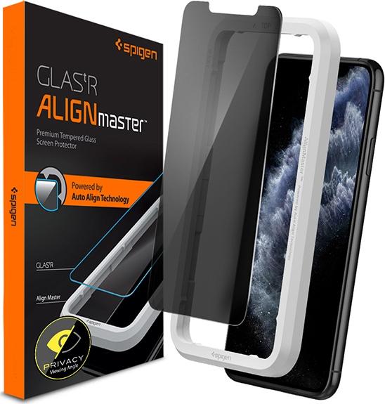 Spigen GLAS.tR ALIGNmaster Privacy - Αντιχαρακτικό Fullface Γυάλινο Screen Protector iPhone 11 Pro Max (AGL00095)