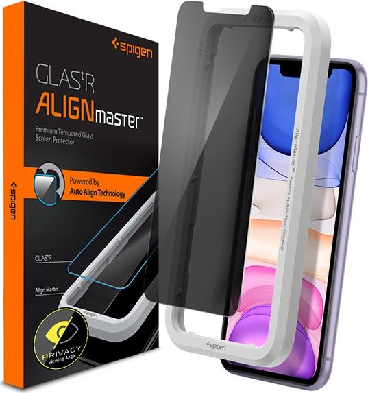 Spigen GLAS.tR ALIGNmaster Privacy - Αντιχαρακτικό Fullface Γυάλινο Screen Protector iPhone 11 (AGL00103)