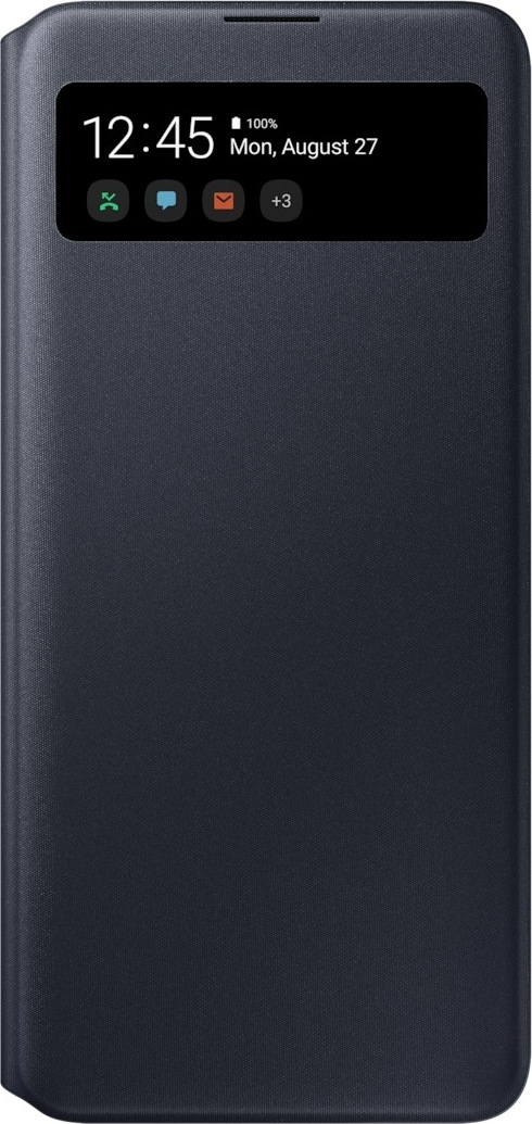 Official Samsung S-View Wallet Θήκη Samsung Galaxy A71 - Black (EF-EA715PBEGEU)