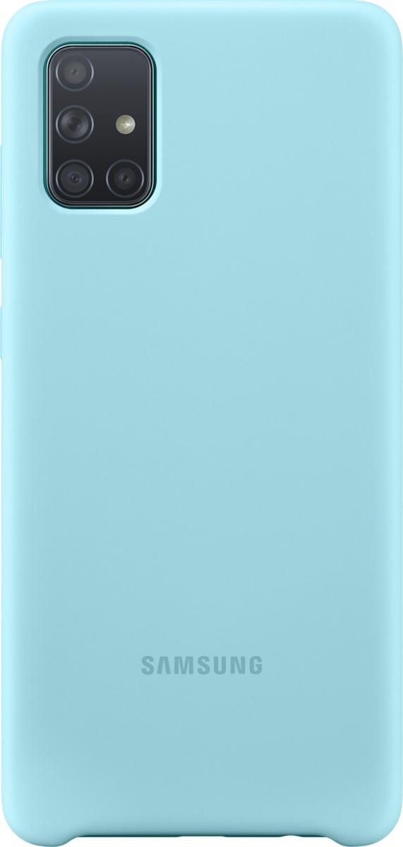 Official Samsung Θήκη Σιλικόνης Samsung Galaxy A71 - Blue (EF-PA715TLEGEU)