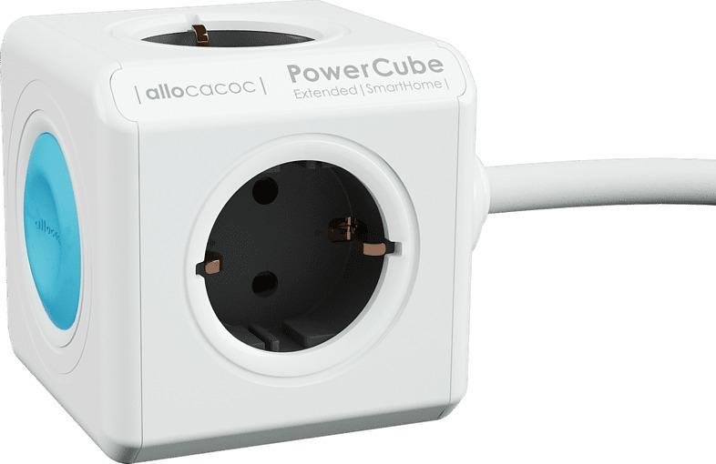 Allocacoc PowerCube Extended Smarthome - Πολύπριζο με 4 Υποδοχές και Σύνδεση με Smartphone - Grey (10753/DEEXSH)