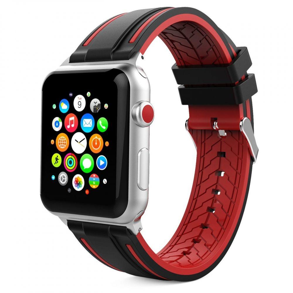 Ανταλλακτικό Λουράκι Apple Watch 5/4/3/2/1 (44/42mm) - OEM - Black / Red (12273)