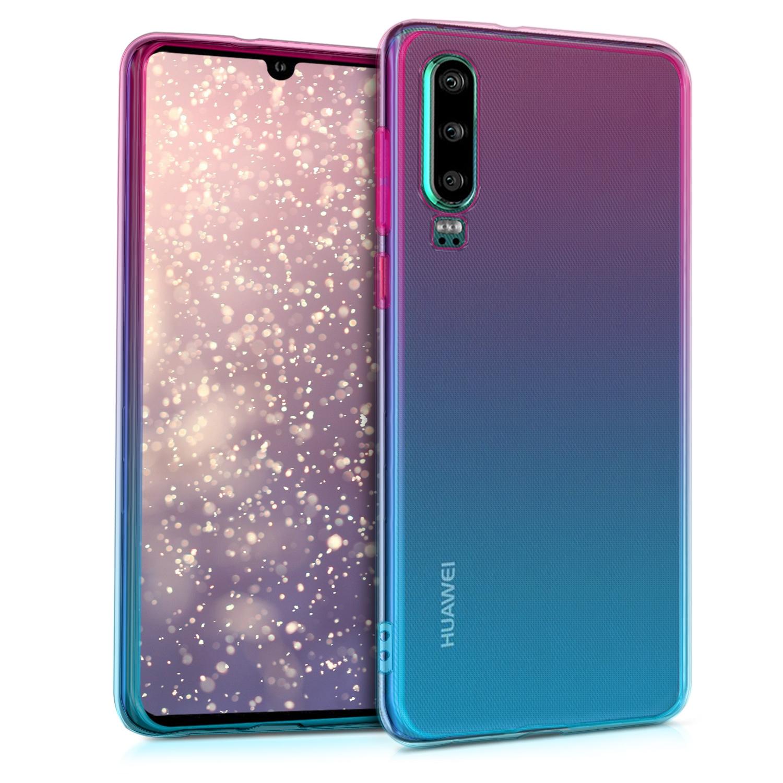 KW Θήκη Σιλικόνης Huawei P30 - Dark Pink / Blue / Transparent (47412.01)