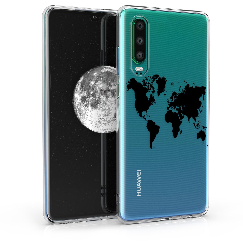 KW Θήκη Σιλικόνης Huawei P30 - Black / Transparent (47412.02)
