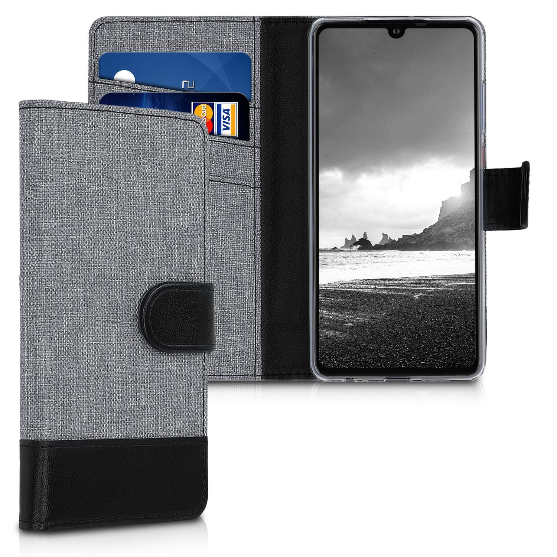 KW Θήκη-Πορτοφόλι Huawei P30 - Grey / Black Canvas (47417.01)