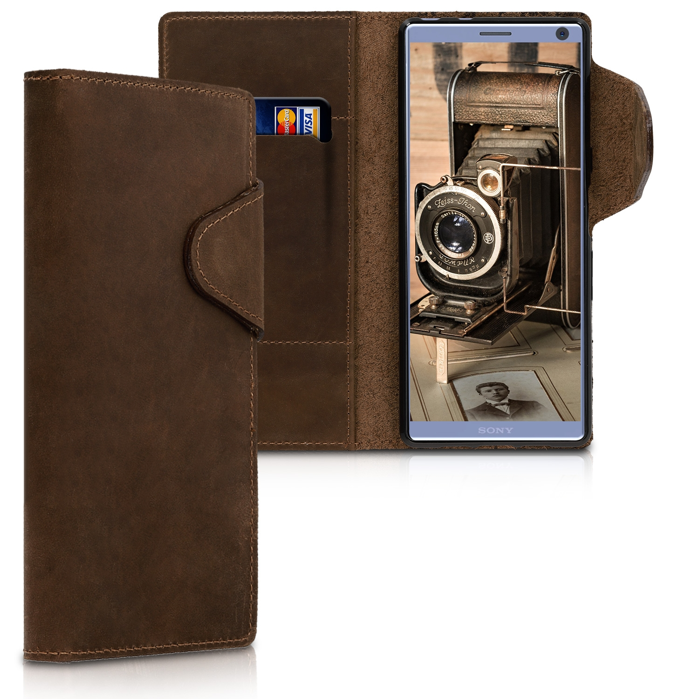 Kalibri Δερμάτινη Suede Θήκη - Πορτοφόλι Sony Xperia 10 - Brown (47994.05)