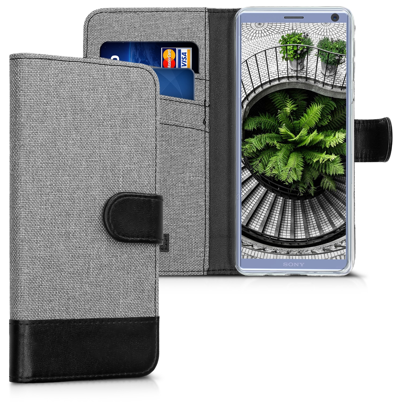 KW Θήκη-Πορτοφόλι Sony Xperia 10 - Grey / Black Canvas (47996.01)