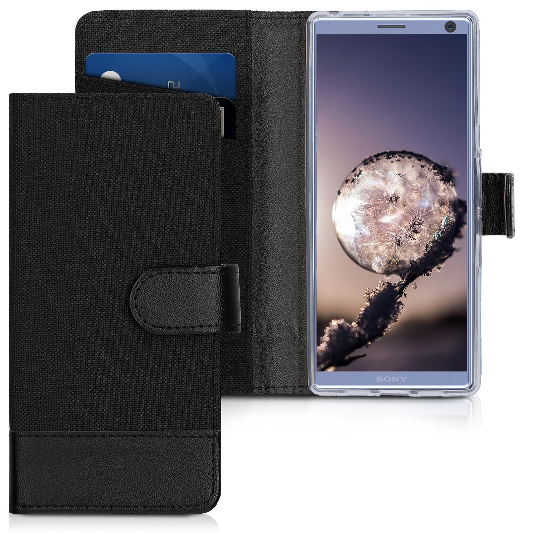KW Θήκη-Πορτοφόλι Sony Xperia 10 - Anthracite / Black Canvas (47996.02)