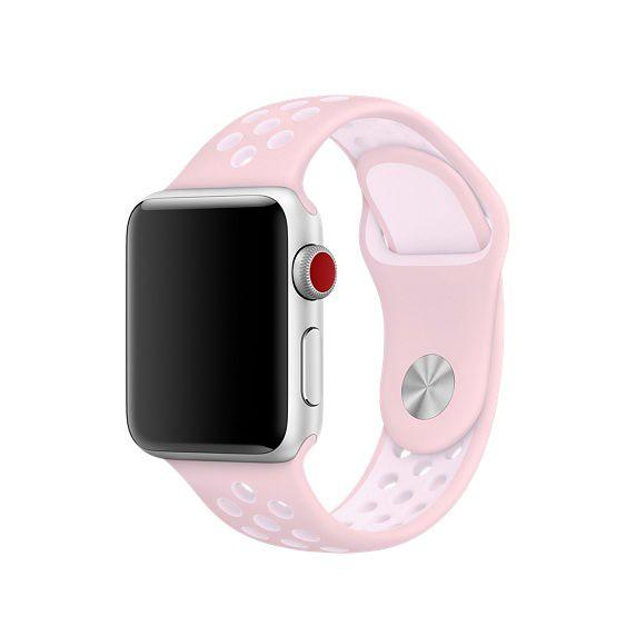 Ανταλλακτικό Λουράκι Apple Watch 1 / 2 / 3 (38mm) - Light Pink / White (13521) - OEM