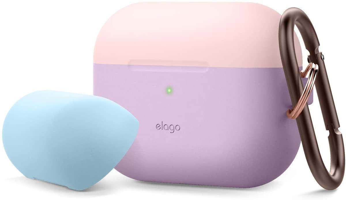 Elago AirPods Pro DUO Hang Case - Θήκη Με Διπλό Καπάκι AirPods Pro - Lavanda / Pastel Pink - Blue (EAPPDH-LV-LPKPBL)