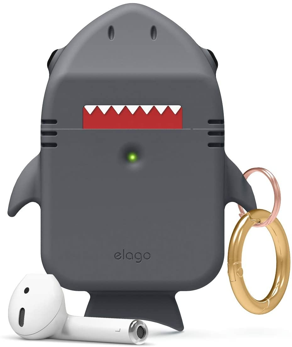 Elago AirPods Shark Case - Θήκη Σιλικόνης για AirPods 2nd Gen / 1st Gen - Dark Grey (EAP-SHARK-DGY)