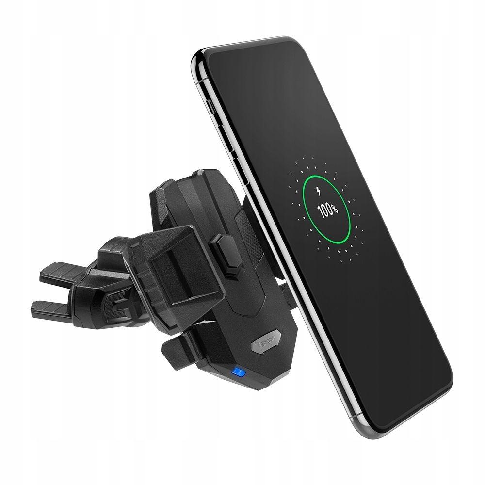 Spigen Essential Fast Wireless Car Charger X35W - Ασύρματη Βάση Φόρτισης Κινητών για CD Αυτοκινήτου - Black (000CP25520)