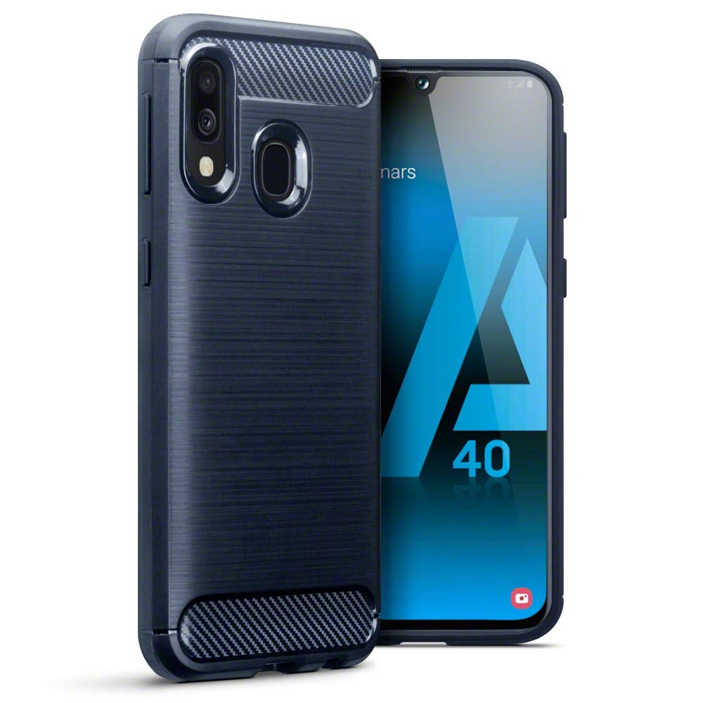 Terrapin Θήκη Σιλικόνης Carbon Fibre Design Samsung Galaxy A40 - Dark Blue (118-002-765)
