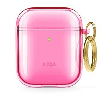 Elago AirPods Clear TPU Hang Case - Ημιδιάφανη Θήκη για AirPods 2nd Gen / 1st Gen - Neon Hot Pink (EAPCL-HANG-NHPK)