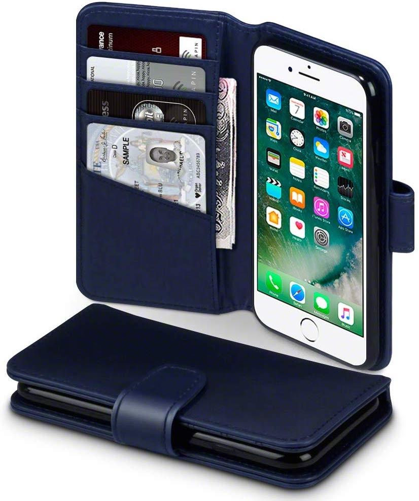 Terrapin Δερμάτινη Θήκη iPhone 8 / 7 - Πορτοφόλι (117-122-025) - Blue