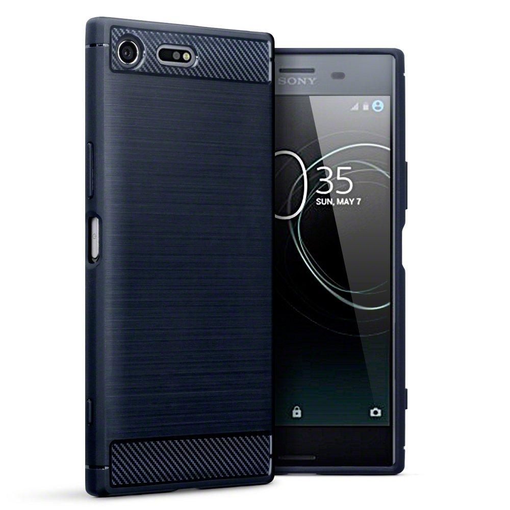 Terrapin Θήκη Σιλικόνης Carbon Fibre Design Sony Xperia XZ Premium - Blue (118-005-379)