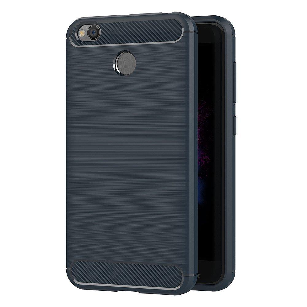 Θήκη Σιλικόνης Carbon Fibre Design Xiaomi Redmi 4X - Blue - OEM-(12578)