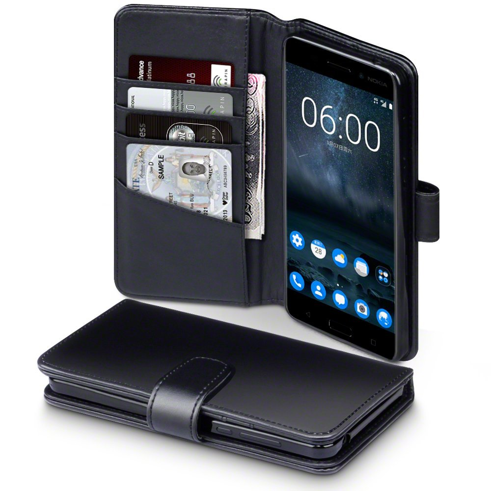 Terrapin Δερμάτινη Θήκη - Πορτοφόλι Nokia 6 - Black (117-001-254)