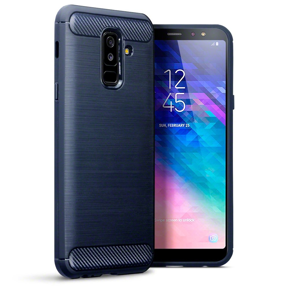 Terrapin Θήκη Σιλικόνης Carbon Fibre Design Samsung Galaxy A6 Plus 2018 - Dark Blue (118-002-703)