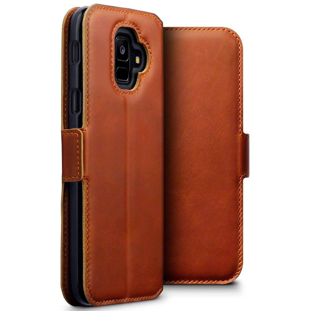 Terrapin Low Profile Δερμάτινη Θήκη - Πορτοφόλι Samsung Galaxy A6 2018 - Cognac (117-002a-056)