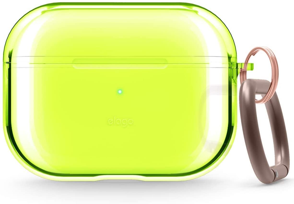 Elago AirPods Pro Clear TPU Hang Case - Ημιδιάφανη Θήκη για AirPods Pro - Neon Yellow (EAPPCL-HANG-NYE)