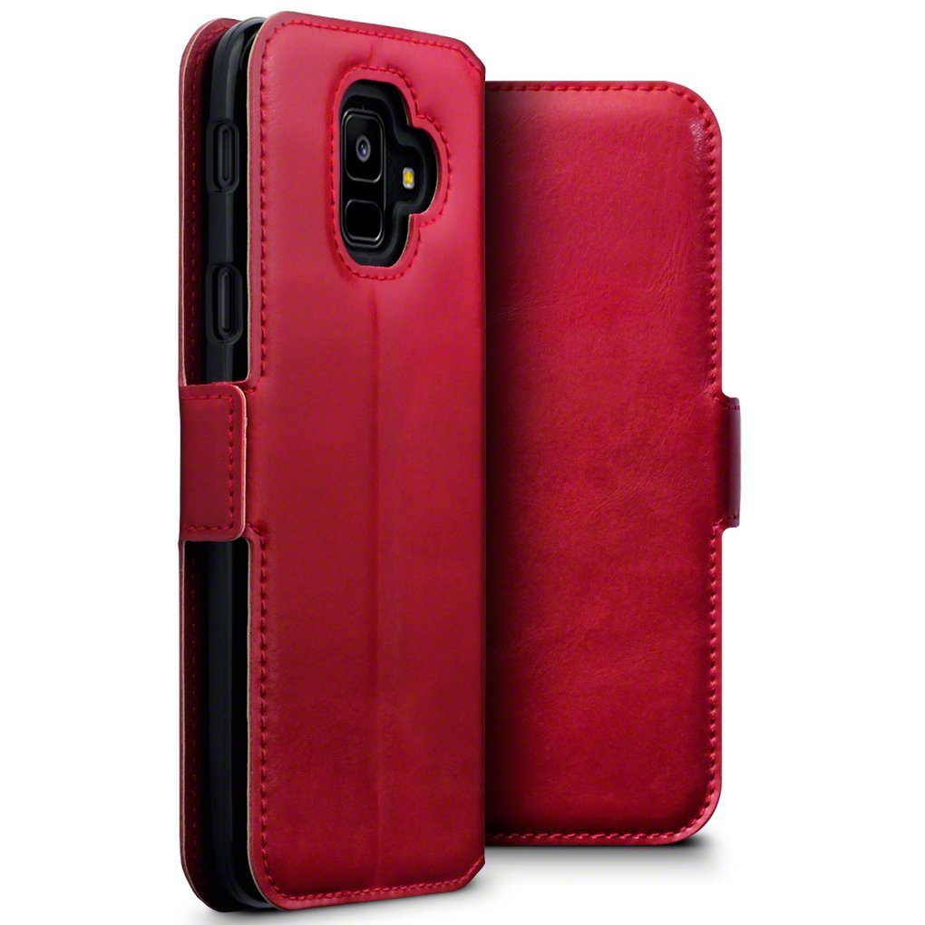 Terrapin Low Profile Δερμάτινη Θήκη - Πορτοφόλι Samsung Galaxy A6 2018 - Red (117-002a-058)