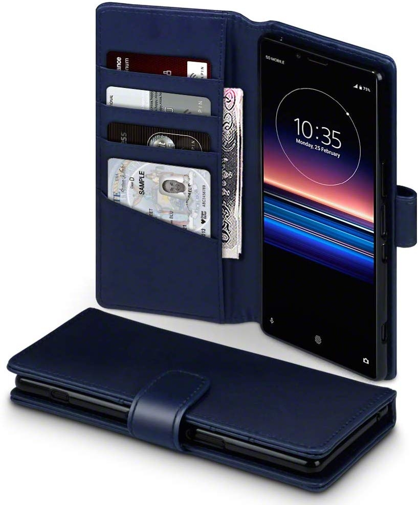 Terrapin Low Profile Δερμάτινη Θήκη - Πορτοφόλι Sony Xperia 1 - Blue (117-005-675)