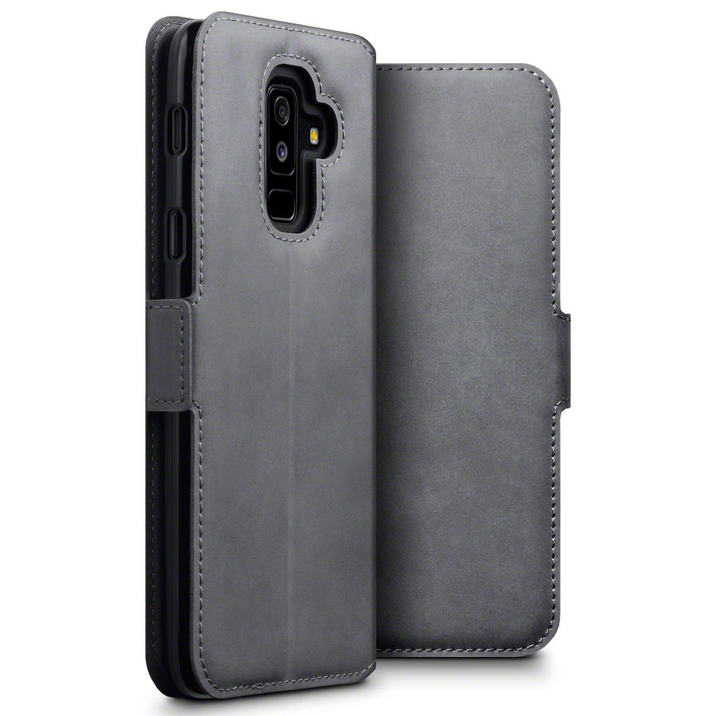 Terrapin Low Profile Δερμάτινη Θήκη - Πορτοφόλι Samsung Galaxy A6 Plus 2018 - Grey (117-002a-066)