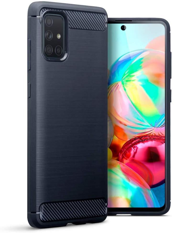Terrapin Θήκη Σιλικόνης Carbon Fibre Samsung Galaxy A71 - Dark Blue (118-002-809)