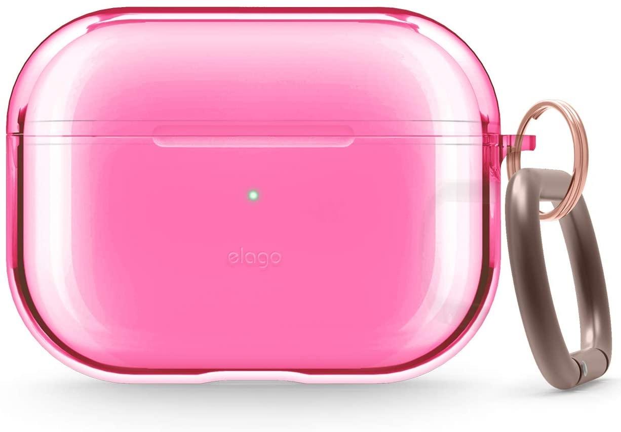 Elago AirPods Pro Clear TPU Hang Case - Ημιδιάφανη Θήκη για AirPods Pro - Neon Hot Pink (EAPPCL-HANG-NHPK)