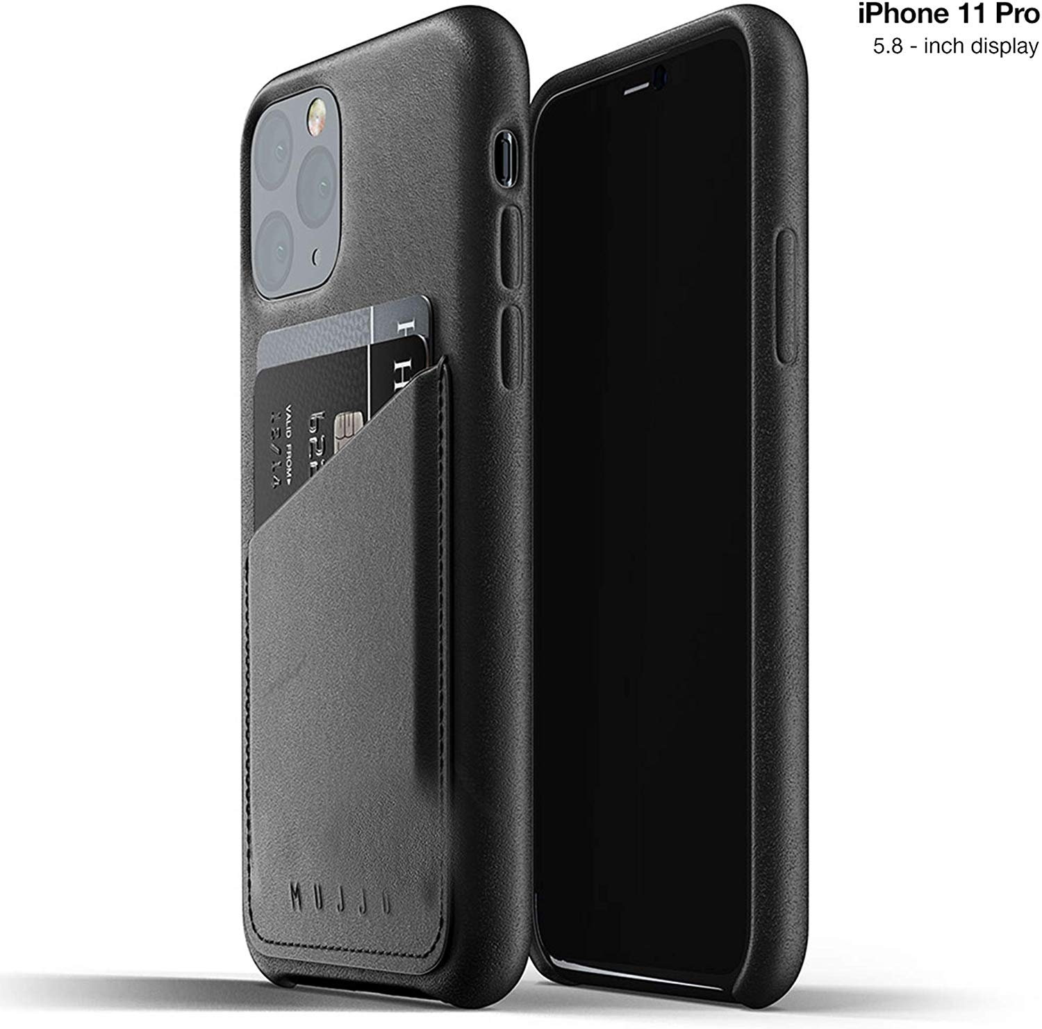 MUJJO Full Leather Wallet Case - Δερμάτινη Θήκη-Πορτοφόλι iPhone 11 Pro - Black (MUJJO-CL-002-BK)
