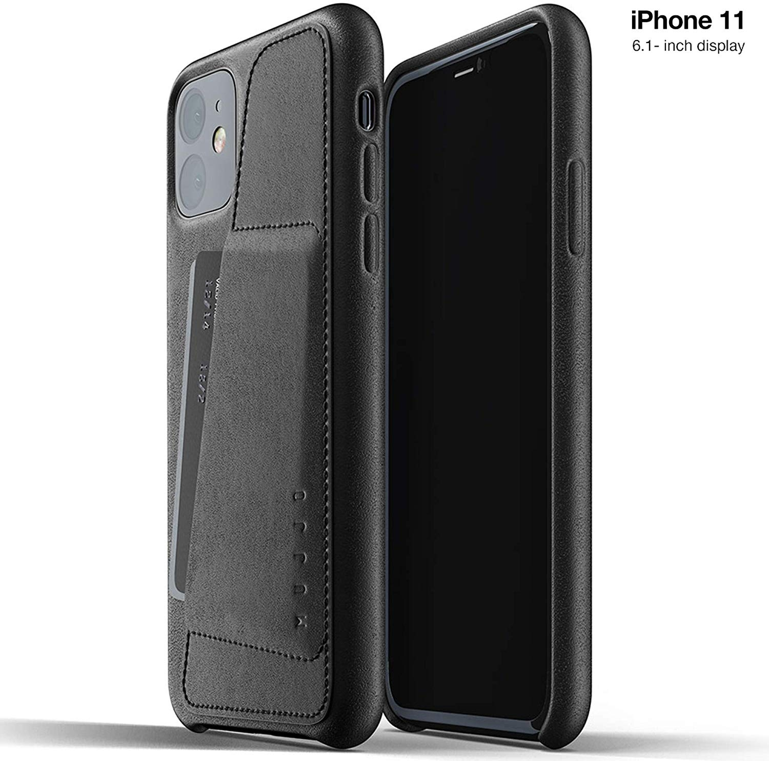 MUJJO Full Leather Wallet Case - Δερμάτινη Θήκη-Πορτοφόλι iPhone 11 - Black (MUJJO-CL-006-BK)