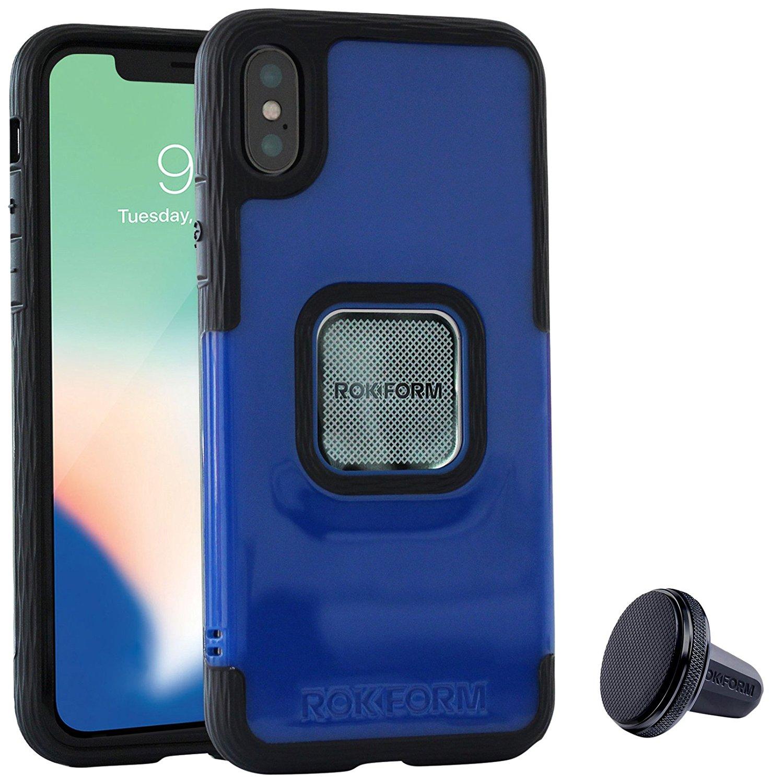 Rokform Socket Θήκη iPhone X/XS με Μαγνητική Βάση Αυτοκινήτου - Blue (303802)