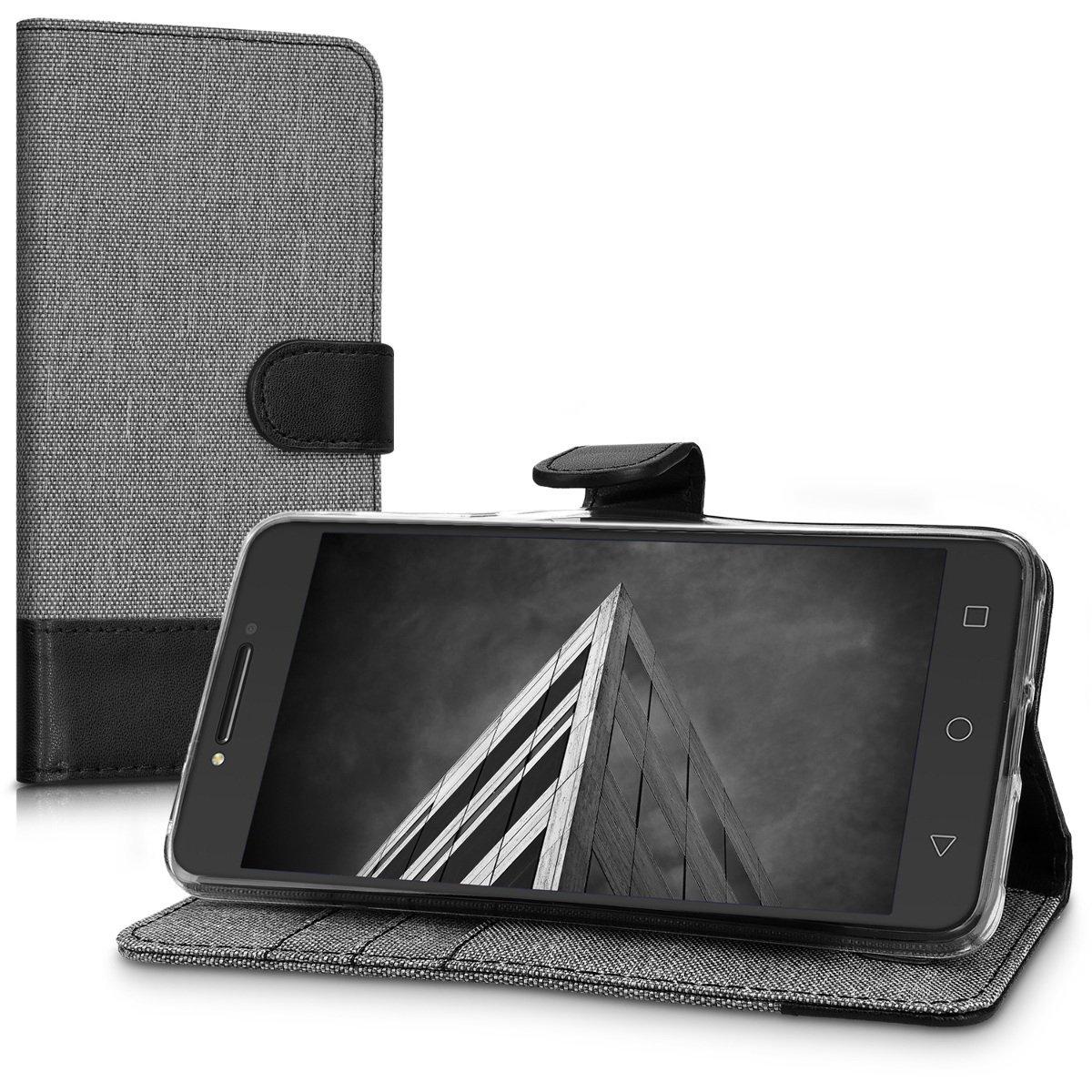KW Θήκη Πορτοφόλι Alcatel A5 LED - Grey / Black Canvas (42142.22)