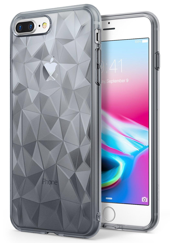 Ringke Air Prism Θήκη Σιλικόνης  iPhone 8 Plus / iPhone 7 Plus με Ανάγλυφο Σχέδιο + Screen Protector - Smoke Black( RGK283SM)