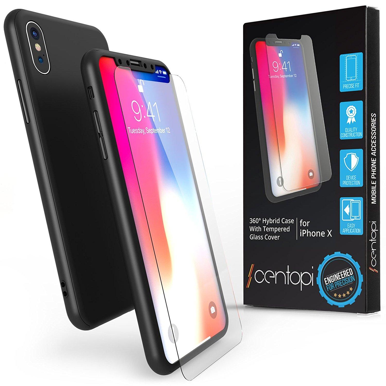 Centopi Θήκη Hybrid 360° iPhone X / XS & Tempered Glass - Black (CEN-APP-121)