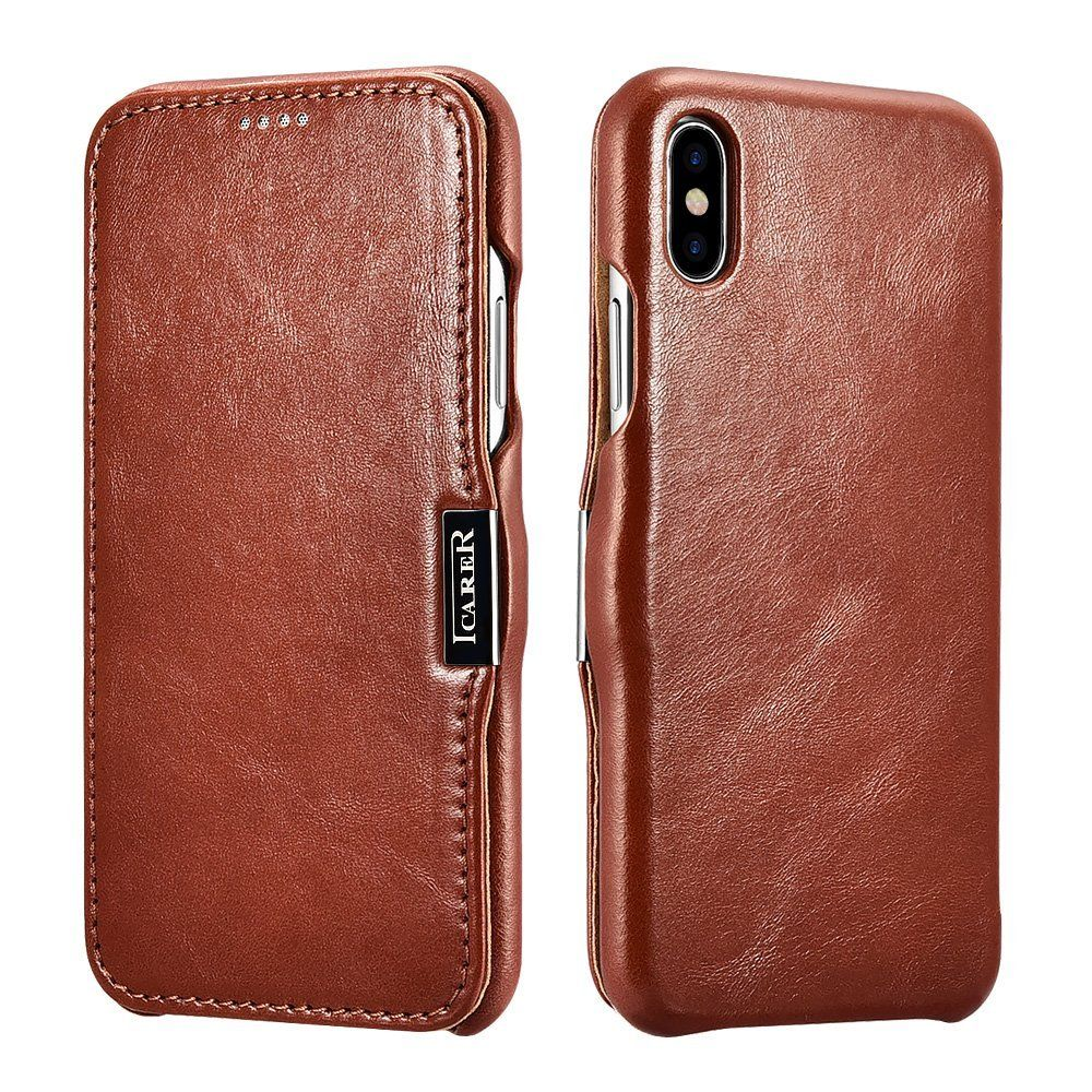 iCarer Vintage Series Side-Open Δερμάτινη Θήκη iPhone X / XS - Brown (12701)