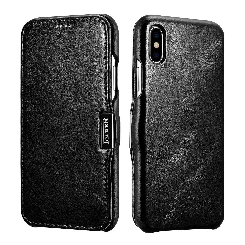 iCarer Vintage Series Side-Open Δερμάτινη Θήκη iPhone X / XS - Black (11747)