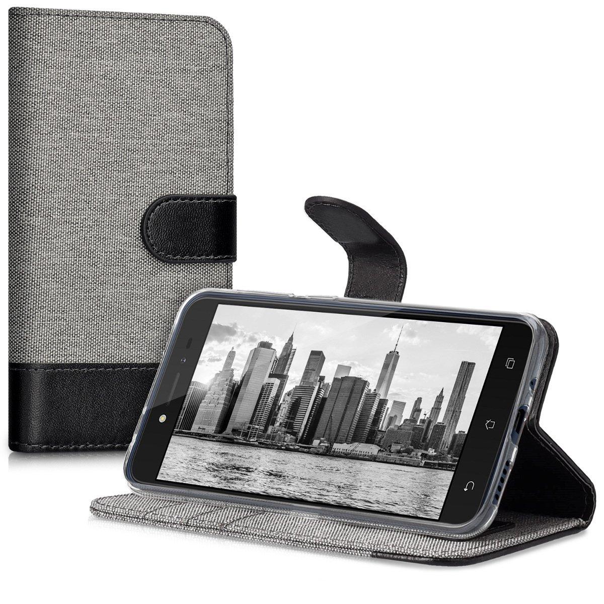 KW Θήκη Πορτοφόλι Asus Zenfone Live - Grey / Black Canvas (41952.01)
