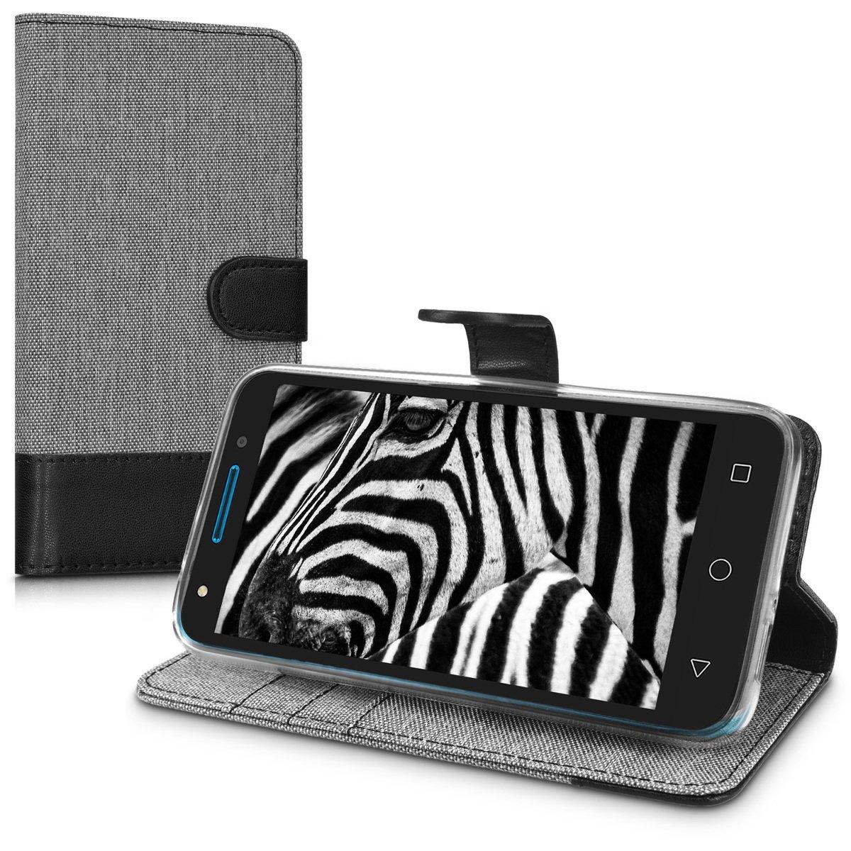 KW Θήκη Πορτοφόλι Alcatel U5 - Grey / Black Canvas (42324.22)